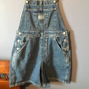 Levi overall jean shorts
